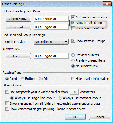 how to change view in outlook 2016