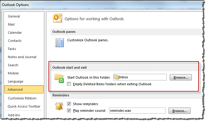 how to set a startup password for outlook