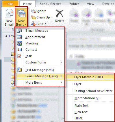 how to create stationery in outlook 2007