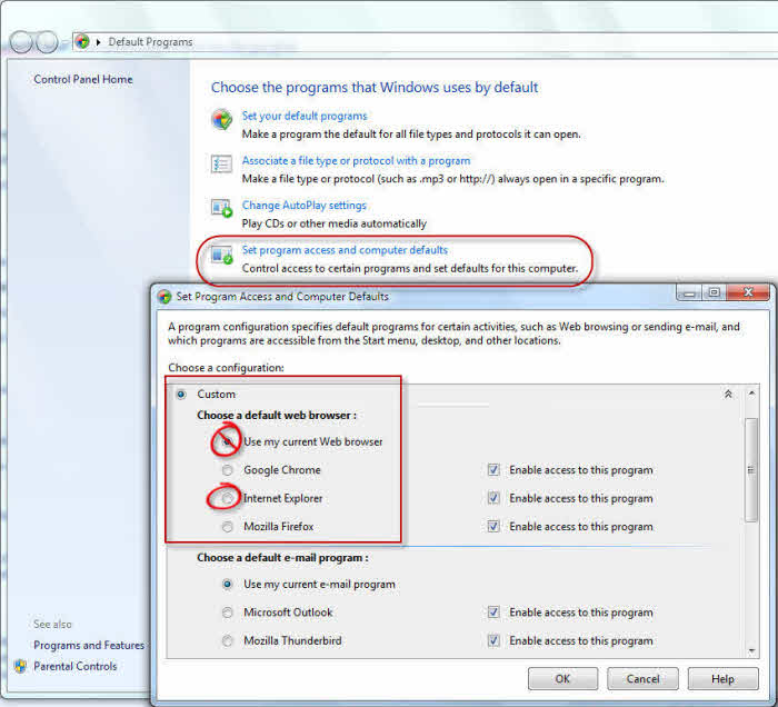how to set ie 10 as default browser