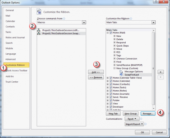 customize the ribbon to add a macro button