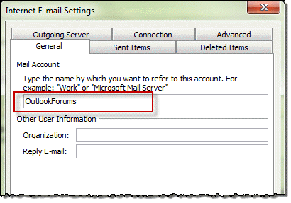 how to delete aname on an email account on outlook