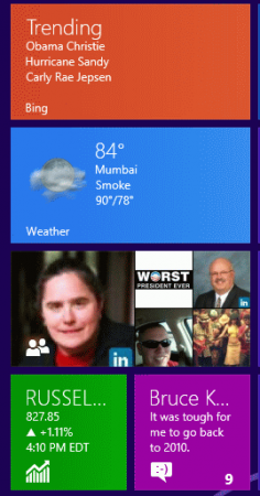Live tiles in Windows 8