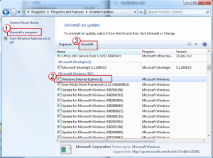 Uninstall Internet Explorer 11