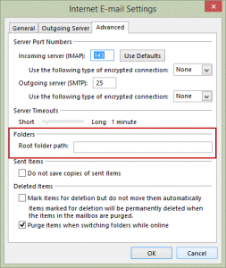 Set a root folder for the imap account
