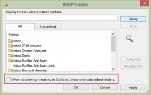 Show subscribed imap folders