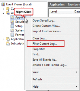 Right click and choose Filter Current Log