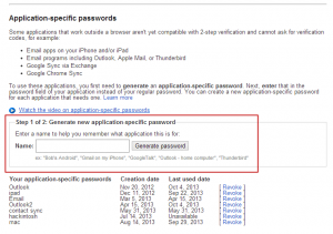Create an application specific password to use in Outlook