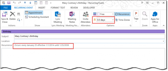 Create a birthday event for contacts in shared folders