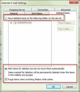 Configure IMAP deleted items in Outlook 2010
