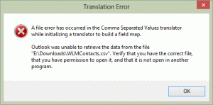 Import CSV error message