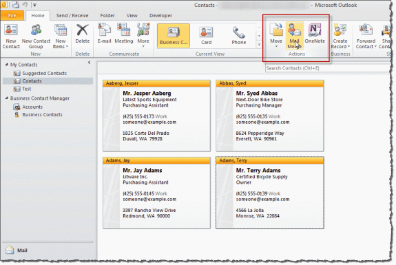 Mail merge command in Outlook 2010/2013