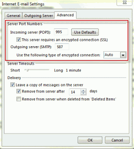 Configure the port settings on the More Settings, Advanced tab