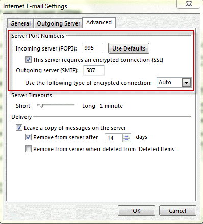 Configuring an account in outlook - Smtp and pop3 port number ...