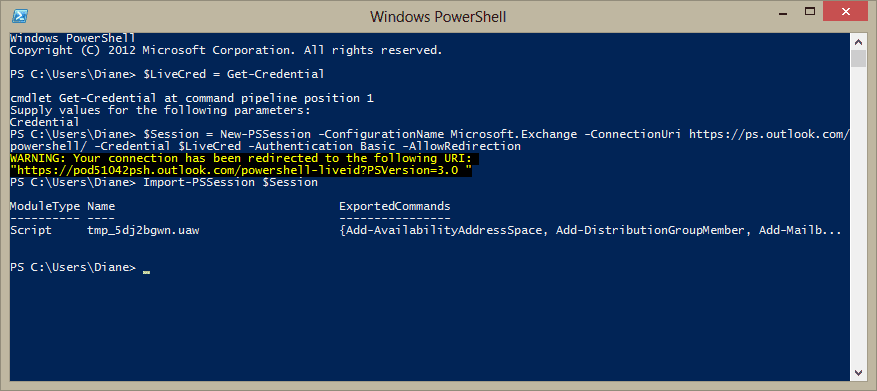 Use PowerShell to log into Office 365 Exchange