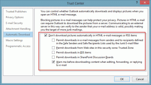 Do not download external content, even for trusted senders