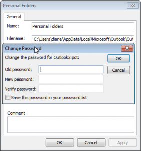 Password protect an Outlook pst file