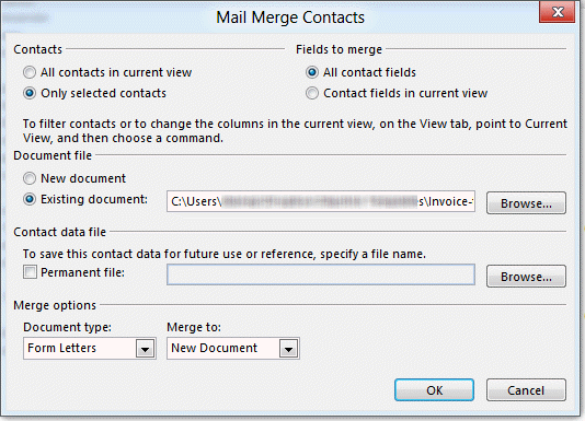 Start a Word letter from an Outlook contact