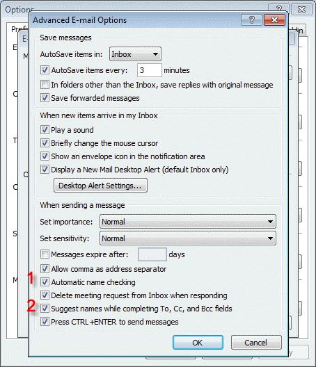 Autocomplete and autoresolve options dialog