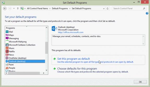 choose the default email client