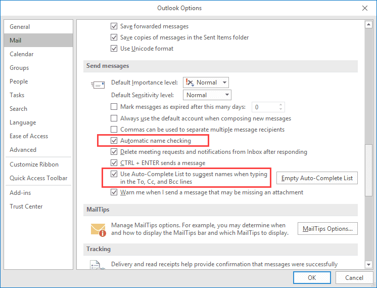 Outlook Email Address Auto-Resolution vs  Auto-Complete