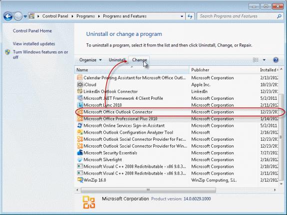 Windows 7 Control panel's Add or Remove Programs dialog