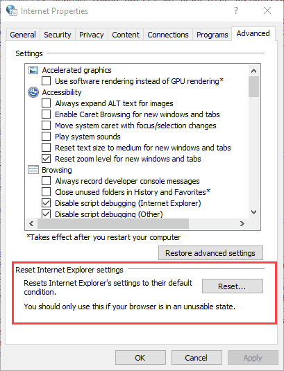 reset web settings dialog