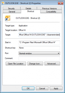 Configure a shortcut to open Outlook with a switch