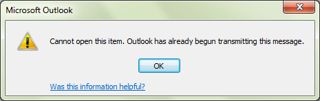 Outlook has begun transmitting the message