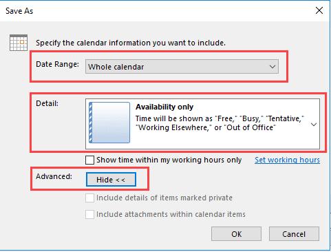 save calendar as an icalendar