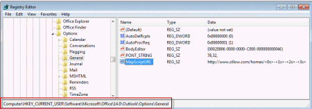 Edit the Registry to and add the mapscripturl string value