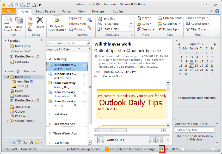 Outlook 2010's Status Bar View Button