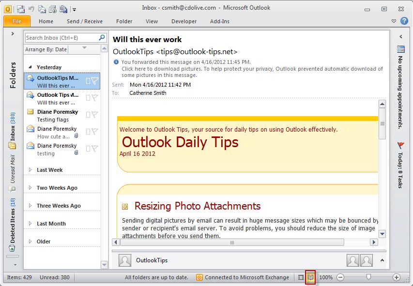 microsoft outlook exchange server status