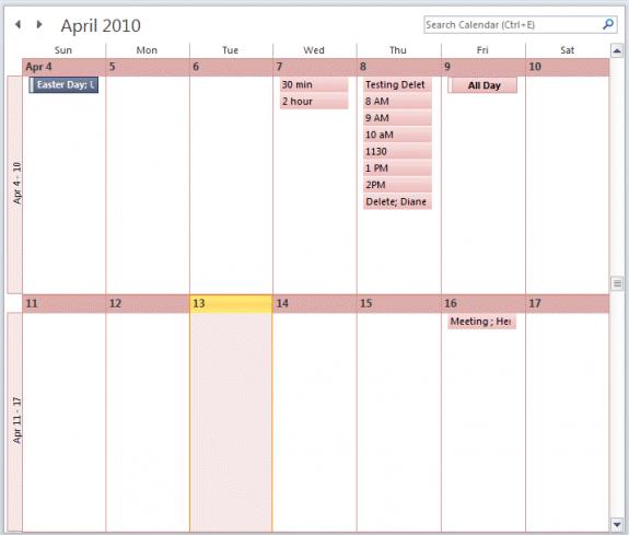 View a 2 week calendar
