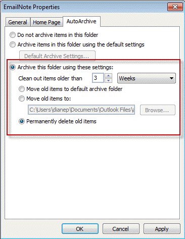 Create a rule to delete mail after a number of days