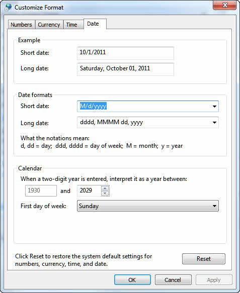 Change Windows Long Date format
