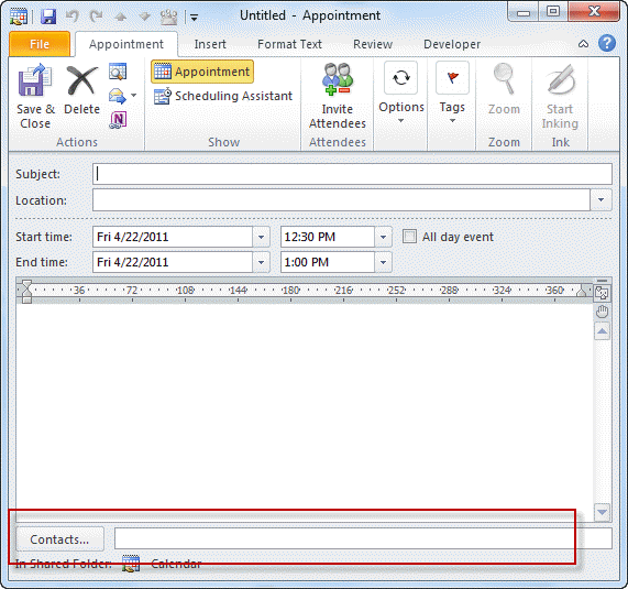 The contact linking box at the bottom of an Outlook form.