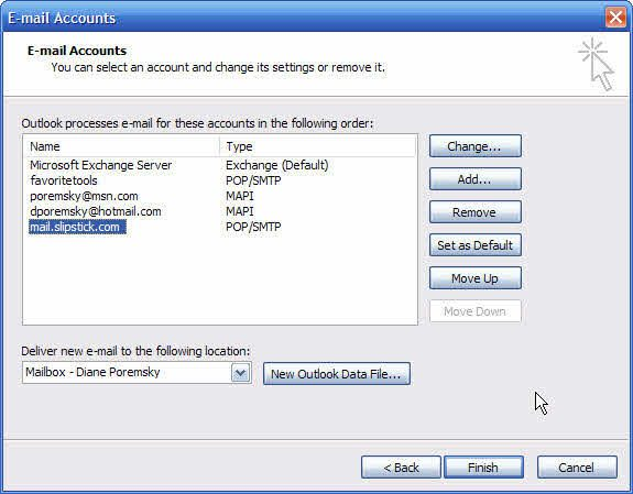Accounts in Outlook 2003 and older