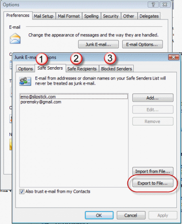 Export safe and blocked junk mail lists
