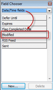 Choose the modified date in the field chooser dialog