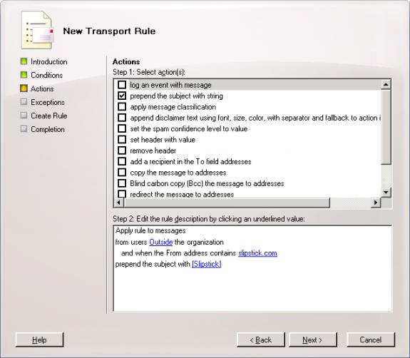 Figure 3: Exchange 2007 Rules