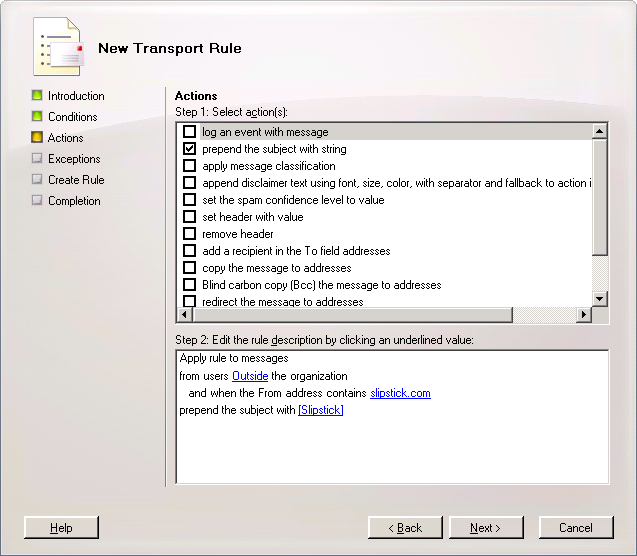 Exchange 2007 Message Transport Rules