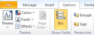 BCC options dialog