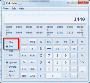 Calculate hex values