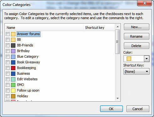 Use the Color Category dialog to edit categories