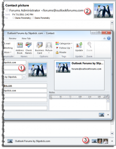 Contact pictures display in Outlook messages