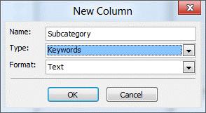 Create a keywords custom field
