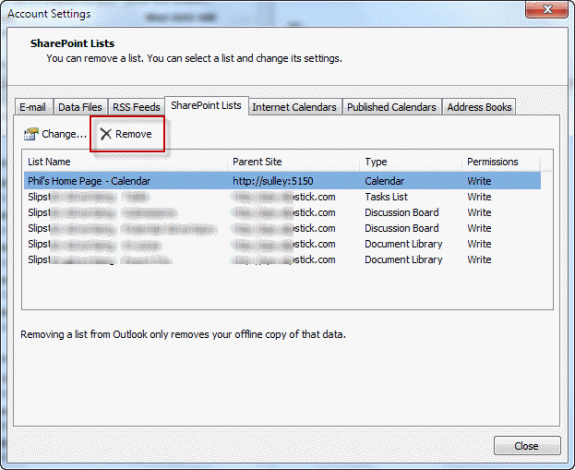 Delete Sharepoint list from Account Settings
