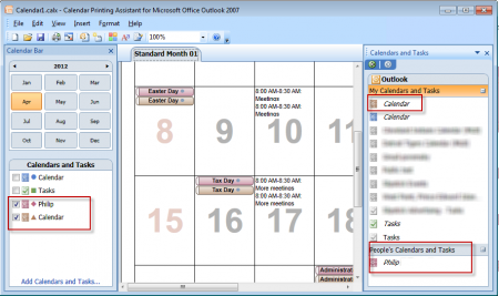 Duplicates in the Calendar printing assistant