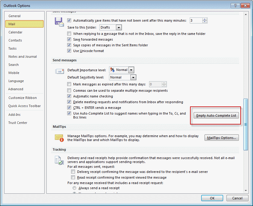 Outlook's Auto-Complete or Nickname Cache (* NK2)